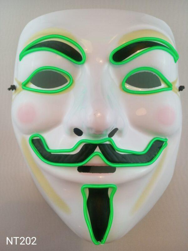 Anonymous svítící maska zelená