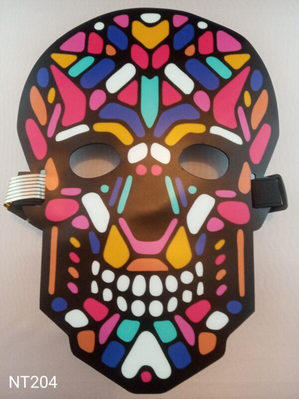 Mexická lebka svítící, zvukově aktivovaná, eluminescenční maska