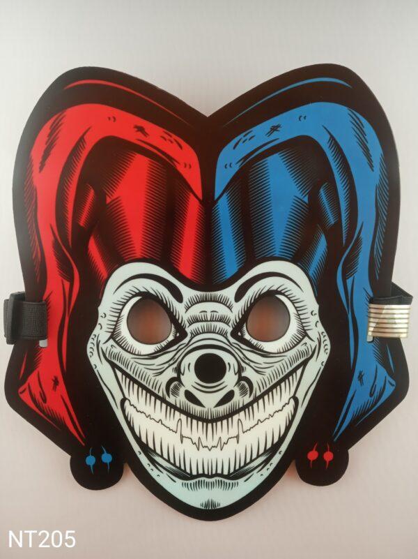 Šašek Joker svítící, zvukově aktivovaná, eluminescenční maska