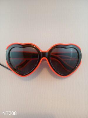 Svítící EL brýle - srdce červené