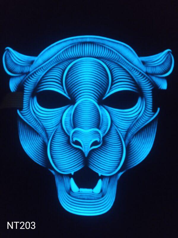 Lev - svítící, zvukově aktivovaná, eluminescenční maska