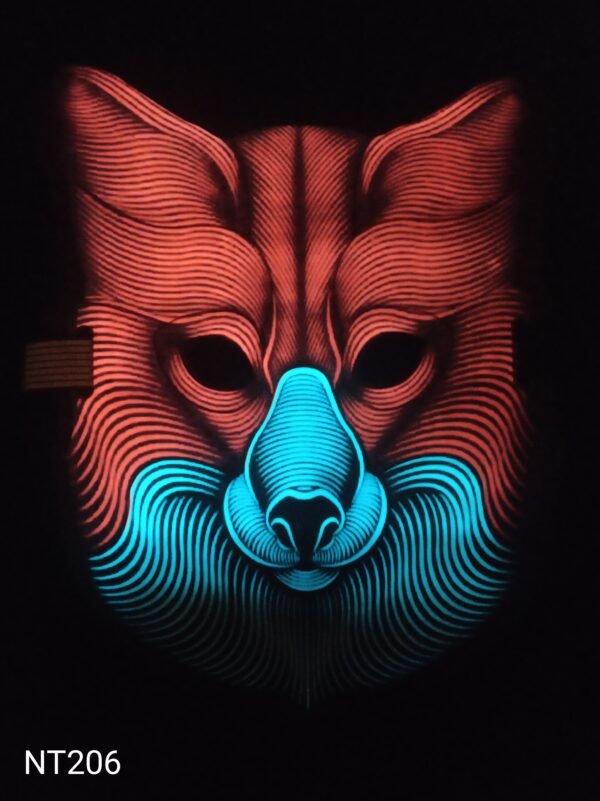 Vlk Wolverine svítící, zvukově aktivovaná, eluminescenční maska