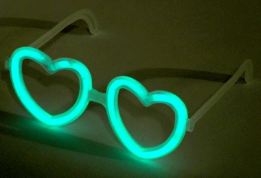 Lightstick brýle srdce zelené