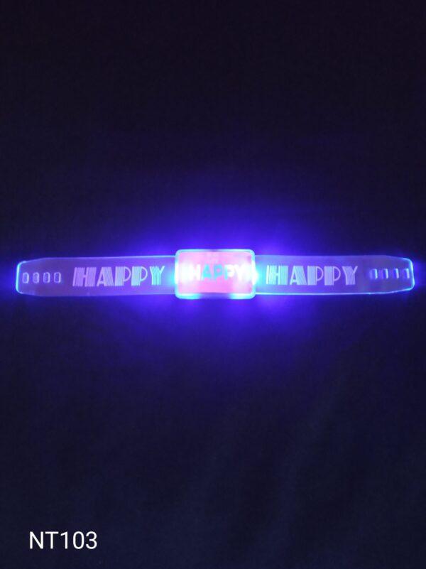 Happy blikací náramek modrý