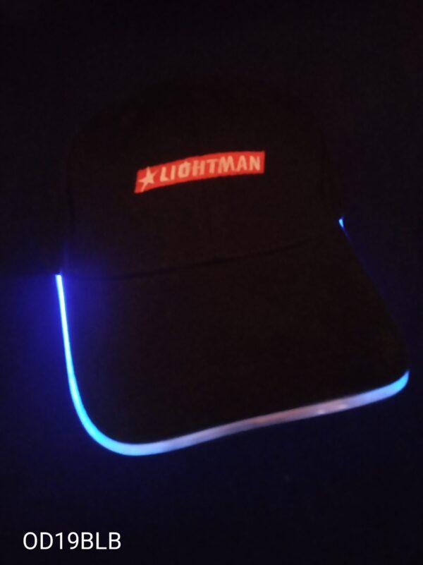 Blikací kšiltovka černá s modrým LED