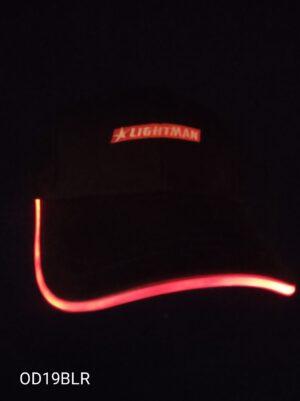 Blikací kšiltovka černá s červeným LED