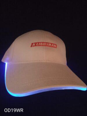 Blikací kšiltovka bílá s modrým LED