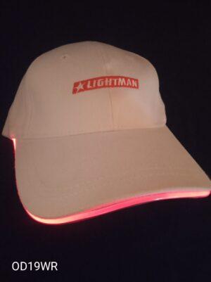 Blikací kšiltovka bílá s červeným LED