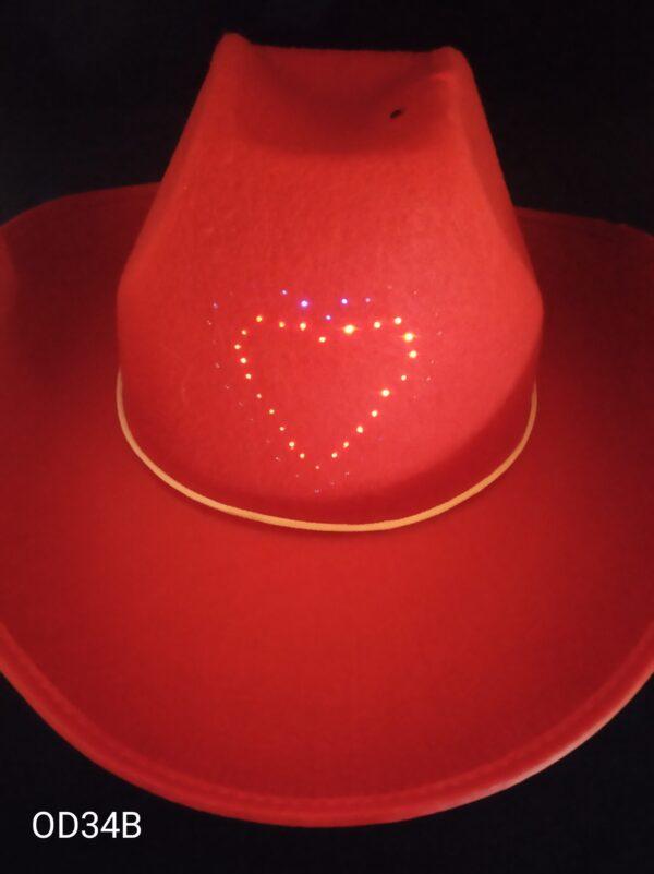 Kovbojský klobouk s blikacím srdcem - dětský